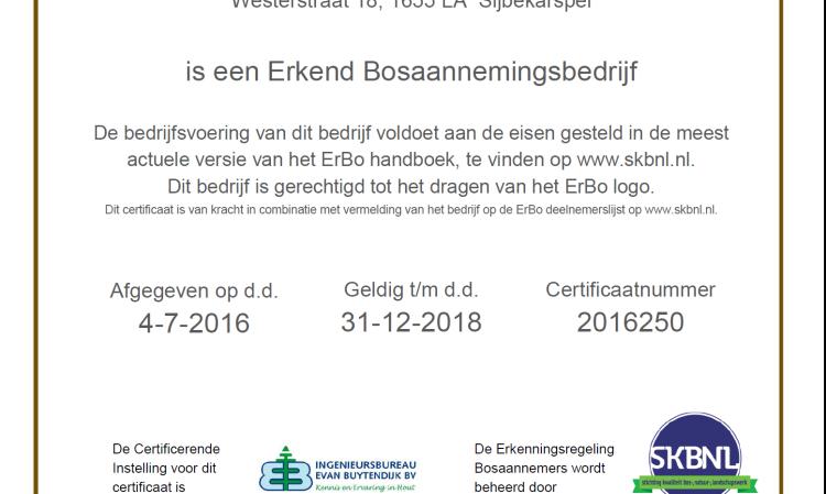 Allure boomverzorging heeft ERBO behaald